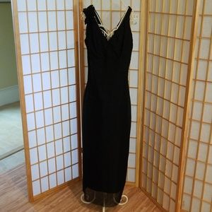 Nine West Black Polka Dot Long Dress Gown